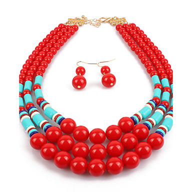 Σετ Κοσμημάτων Euramerican Ρητίνη Γυαλί Κοσμήματα Μαύρο Μπεζ Κόκκινο Μπλε 1 Κολιέ 1 Ζευγάρι σκουλαρίκια ΓιαΓάμου Πάρτι Ειδική Περίσταση