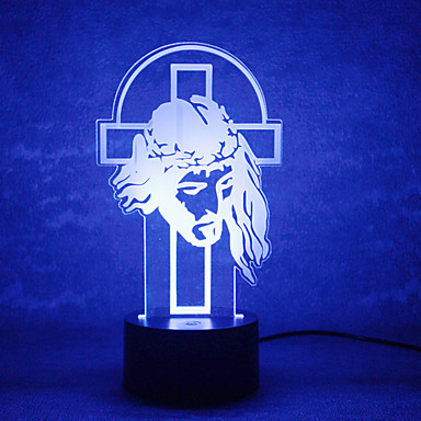 karartma 3d led yılbaşı tanrı dokunmatik gece lambası 7colorful dekorasyon atmosfer lamba yenilik aydınlatma yılbaşı ışık