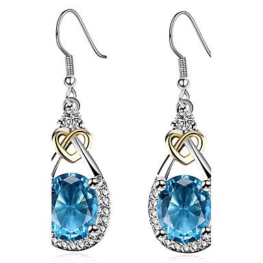 Damla Küpeler imitasyon Safir Moda Kişiselleştirilmiş Euramerican Klasik Zirkon Bakır Platin Kaplama Damla Resimdeki gibi Mücevher Için