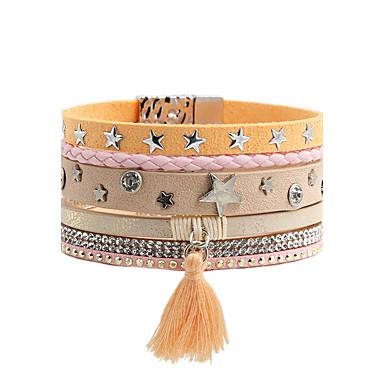Deri Bilezik Moda Bohemia Stili lüks mücevher Deri Yapay Elmas Simüle Elmas alaşım Star Shape Mücevher Uyumluluk Düğün Parti Özel Anlar