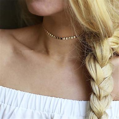 Damskie Naszyjniki choker  -  Spersonalizowane euroamerykańskiej Modny Pojedynczy Strand Gold Silver Naszyjniki Na Impreza Specjalne