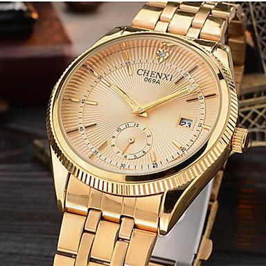 CHENXI® Herrn Quartz Simulierter Diamant Uhr Armbanduhr Japanisch Kalender Imitation Diamant Legierung Band Luxus Glanz Freizeit