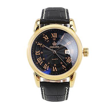 Herrn Mechanische Uhr Modeuhr Chinesisch Quartz Automatikaufzug Schlussverkauf Leder Band Charme Schwarz Silber