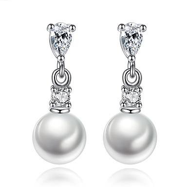 Tropfen-Ohrringe Kubikzirkonia Einzigartiges Design Geometrisch Sterling Silber Künstliche Perle Schmuck Für Hochzeit Party Alltag Normal