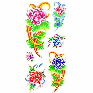 1 Muster Unterer Rückenbereich Waterproof Blumen Serie Tattoo Aufkleber