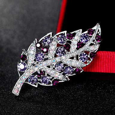 Pentru femei Broșe - Ștras Leaf Shape Modă, Euramerican Broșă Argintiu / Mov Pentru Nuntă / Petrecere / Ocazie specială / Zilnic