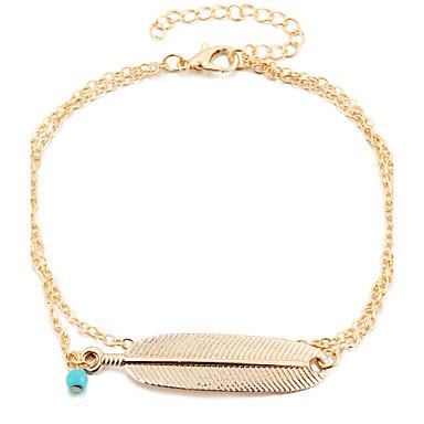 نساء خلخال/سوار سبيكة عتيقة Leaf Shape مجوهرات إلى يوميا فضفاض 1PC