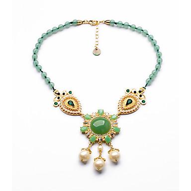 Kadın's Tellerinin Kolye Round Shape Kişiselleştirilmiş lüks mücevher Açık Yeşil Mücevher Için Düğün 1pc