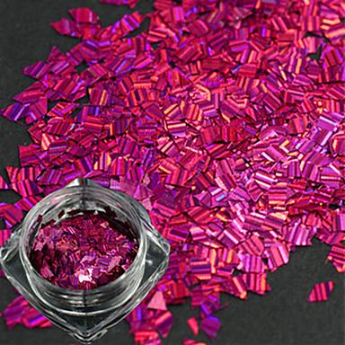 1 sticlă nouă modă design dulce trandafir roșu unghii artă romb banda cu laser subțire felie diy frumusețe sclipici orbitor paillette