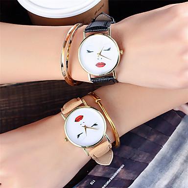 Dames Unieke creatieve horloge Polshorloge Modieus horloge Vrijetijdshorloge Chinees Kwarts / Leer Band Informeel Cool Zwart Wit Bruin