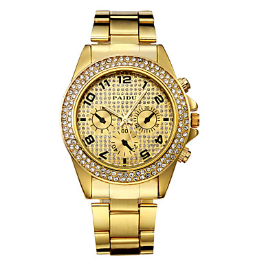 Couple's Diamond Case Gold Steel Band Quartz Wrist Watch (Assorted Colors) Cool Watches Unique Watches