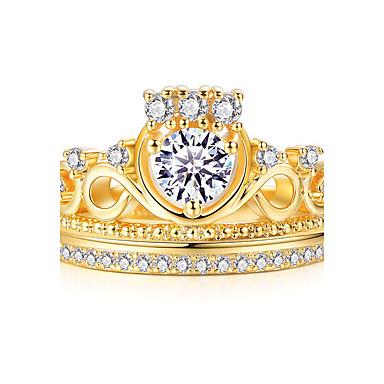 Naisten Tyylikkäät sormukset Sormus Kihlasormus Kristalli Muoti Personoitu Euramerican Kupari Gold Plated Crown Shape Korut