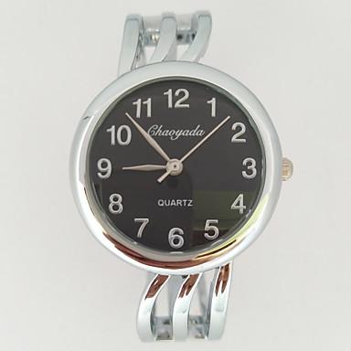 Dames Polshorloge Kwarts Metaal Band Glitter Bangle armband Vrijetijdsschoenen Zilver