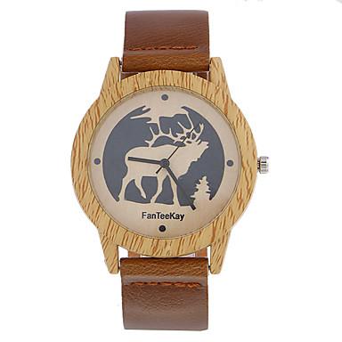 للرجال خشبساعة فريدة من نوعها الإبداعي ووتش ساعة المعصم ساعة كاجوال صيني كوارتز / خشبي جلد فرقة كاجوال كوول أسود بني كاكي
