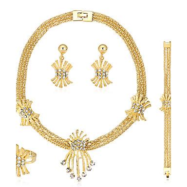 Damen Schmuckset Ohrringe / Armband Halskette / Ring Modisch Euramerican Strass Aleación 1 Halskette 1 Paar Ohrringe 1 Armreif Ringe Für