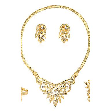 Damen Strass Schmuck-Set Haken 1 Halskette 1 Paar Ohrringe 1 Armreif - Euramerican Modisch Irregulär Gold Schmuckset Halskette / Ring