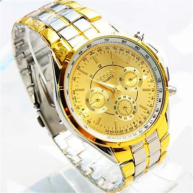 Erkek Moda Saat Gündelik Saatler Quartz Alaşım Bant Günlük Gümüş Altın Rengi