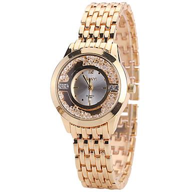 Kadın's Yüzer Kristal Saatler Moda Saat Gündelik Saatler Quartz Alaşım Bant Yaratıcı Günlük Havalı Altın Rengi