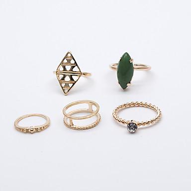 Pierścionki na palec środkowy Modny euroamerykańskiej Stop Geometric Shape Gold Biżuteria Na Impreza 5 szt.