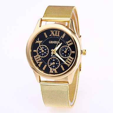 זול שעוני גברים-Geneva בגדי ריקוד גברים שעון יד קווארץ מתכת אל חלד זהב ורד שעונים יום יומיים מגניב אנלוגי אופנתי - לבן שחור קפה