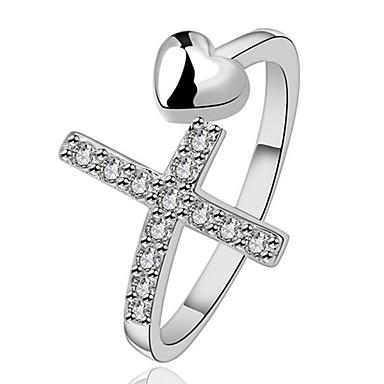 Γυναικεία Εντυπωσιακά Δαχτυλίδια Δαχτυλίδι Κρυστάλλινο Εξατομικευόμενο Πολυτέλεια Μοντέρνα Euramerican Ασήμι Στερλίνας Κρύσταλλο Cruce