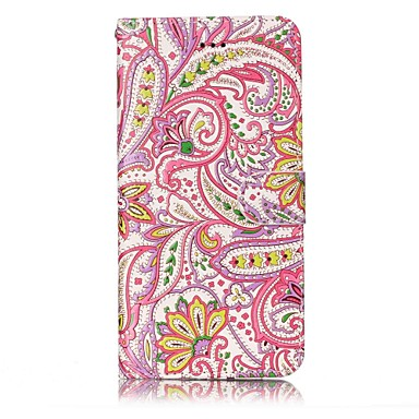 Hülle Für Apple iPhone 7 Plus iPhone 7 Kreditkartenfächer Geldbeutel Muster Geprägt Ganzkörper-Gehäuse Blume Hart PU-Leder für iPhone 7