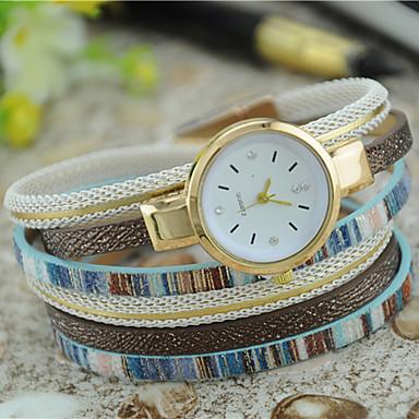 Damen Armband-Uhr Modeuhr Quartz Mehrfarbig Leder Band Böhmische Schwarz Weiß Blau Rot Grün