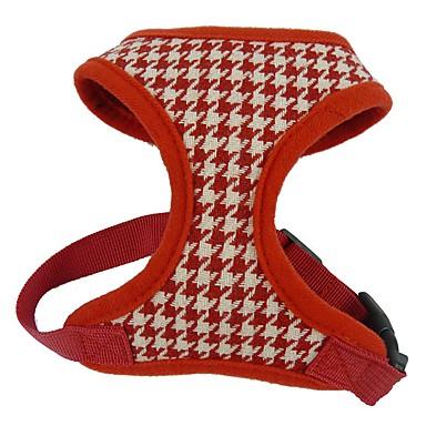 Katze Hund Geschirre Regolabile / Einziehbar Atmungsaktiv Plaid/Karomuster Geometrisch Textil Stoff Schwarz Rot