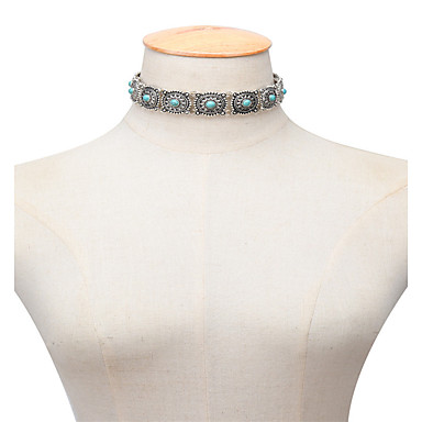 Pentru femei Șuviță unică Personalizat Vintage Modă Euramerican stil minimalist Coliere Choker Turcoaz Turcoaz Aliaj Coliere Choker .