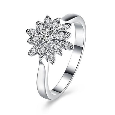 Dames Aanbiddelijk Zirkonia Zirkonia / Zilver Bloem Ring - Rond / Cirkelvorm / Geometrische vorm Gepersonaliseerde / Bloemen / Luxe Zilver