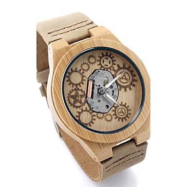 للرجال ساعات فاشن ساعة المعصم فريدة من نوعها الإبداعي ووتش ساعة كاجوال خشبساعة ياباني كوارتز كوارتز ياباني خشبي جلد طبيعي فرقة ترف قديم