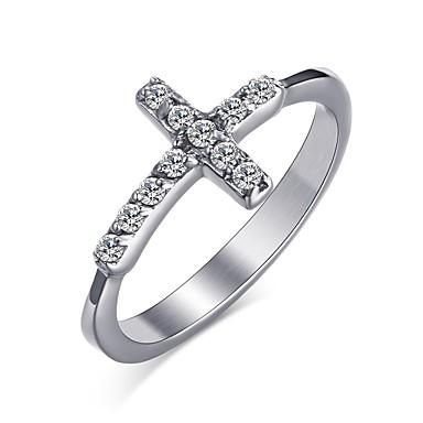 Dames Ring Kristal Gepersonaliseerde Standaard Modieus Kruiselings Euramerican Eenvoudige Stijl Roestvast staal Kruis Rond Cirkelvorm
