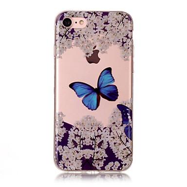 Pouzdro Uyumluluk Apple IMD Şeffaf Temalı Arka Kılıf Kelebek Yumuşak TPU için iPhone 7 Plus iPhone 7 iPhone 6s Plus iPhone 6 Plus iPhone