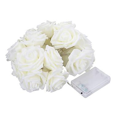 5m 20 LED batteriebetriebene Schnur Blume Rose Fee Licht Hochzeit Zimmer Gartendekor (warmweiß)