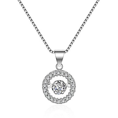 Naisten Pyöreä Muoto Pyöreä Riipus-kaulakorut Synteettinen timantti Hopeoitu Riipus-kaulakorut Syntymäpäivä Lahja Päivittäin