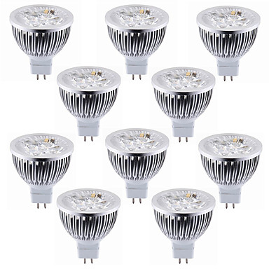10 stuks 5.5W 450-500lm MR16 LED-spotlampen 4 LED-kralen Krachtige LED Decoratief Warm wit Koel wit 12V