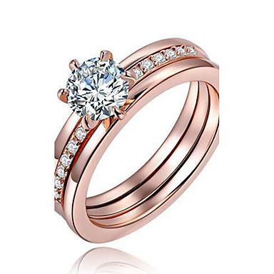 Duże pierścionki Pierscionek Pierścionek zaręczynowy Kryształ Modny Osobiste euroamerykańskiej Miedź Posrebrzany Pozłacane Circle Shape
