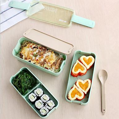 1kpl 3 kerros ohut Bento eväät ruoka astiaan Lunchbox lusikalla&kuljettaa lounas laukku mikroaaltouunissa