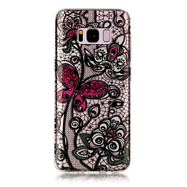 Etui Käyttötarkoitus Samsung Galaxy S8 Plus S8 IMD Läpinäkyvä Kuvio Takakuori Perhonen Kukka Pehmeä TPU varten S8 Plus S8 S7 edge S7 S6