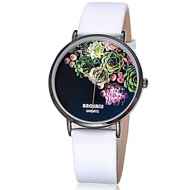 Erkek Kadın's Moda Saat Bilek Saati Quartz / Deri Bant Çiçekli Havalı Günlük Siyah Beyaz