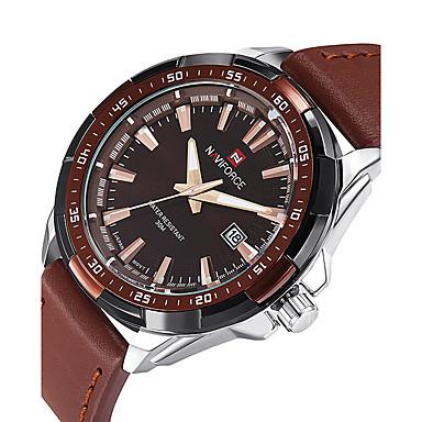 NAVIFORCE Herrn Quartz Armbanduhr Sportuhr Kalender PU Band Luxus Freizeit Modisch Cool Schwarz Braun