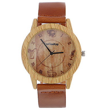Męskie Zegarek na nadgarstek Unikalne Kreatywne Watch Na codzień Zegarek Drewno Chiński Kwarcowy / drewniany Skóra Pasmo Na co dzień