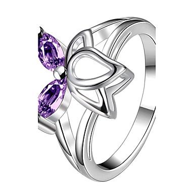 Damskie Pierscionek Kryształ Modny Osobiste euroamerykańskiej luksusowa biżuteria Srebro standardowe Kryształ Circle Shape Biżuteria Na