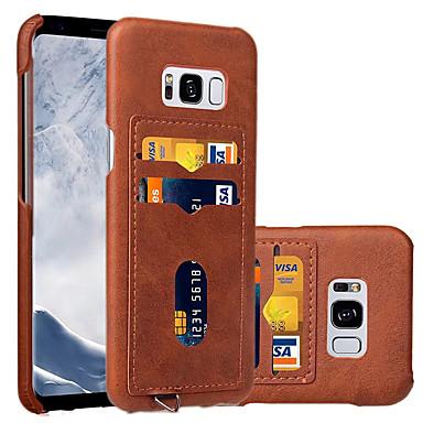Hülle Für Samsung Galaxy S8 Plus S8 Kreditkartenfächer Rückseitenabdeckung Volltonfarbe Hart Kunst-Leder für S8 S8 Plus