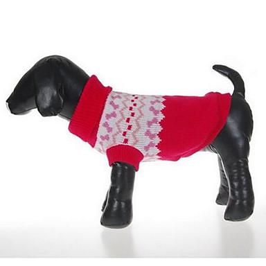 كلب البلوزات ملابس الكلاب كريسماس عيد الميلاد كاجوال/يومي موضة كارتون أحمر كوستيوم للحيوانات الأليفة