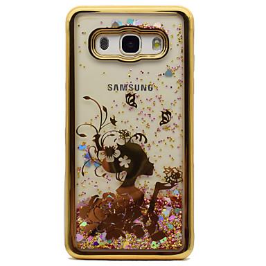hoesje Voor Samsung Galaxy J5 (2016) J3 (2016) Beplating Stromende vloeistof Patroon Achterkant Sexy dame Glitterglans Zacht TPU voor J5