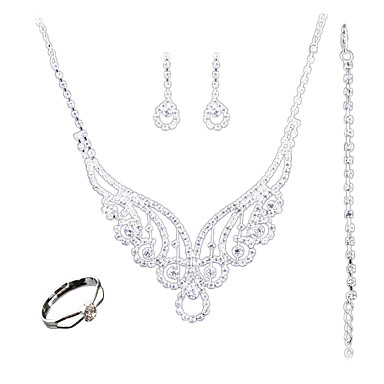 Damen Schmuckset Euramerican Modisch Hochzeit Party Alltag Normal Chrom Anderen Haken 1 Halskette 1 Paar Ohrringe 1 Armreif