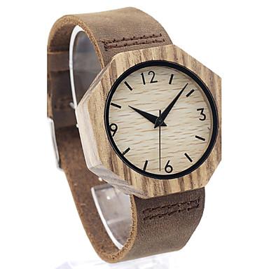 Heren Modieus horloge Polshorloge Unieke creatieve horloge Vrijetijdshorloge Horloge Hout Japans Kwarts Japanse quartz houten Echt leer