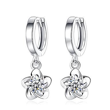 Damskie Kolczyki wiszące Kwiat Kwiaty Cyrkonia Powłoka platynowa Flower Shape Biżuteria Na Ślub Impreza Codzienny Casual