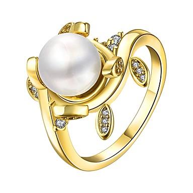 Γυναικεία Δαχτυλίδι Cubic Zirconia Απομίμηση Μαργαριτάρι Χρυσό Ασημί Τριανταφυλλί Απομίμηση Μαργαριταριού Ζιρκονίτης Χαλκός Επάργυρο